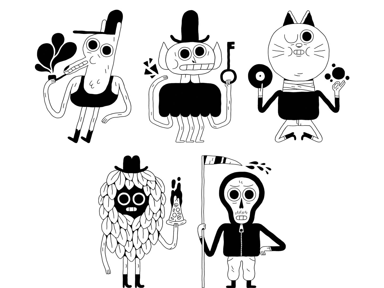 Pencil clipart doodle. Bandit styx characters