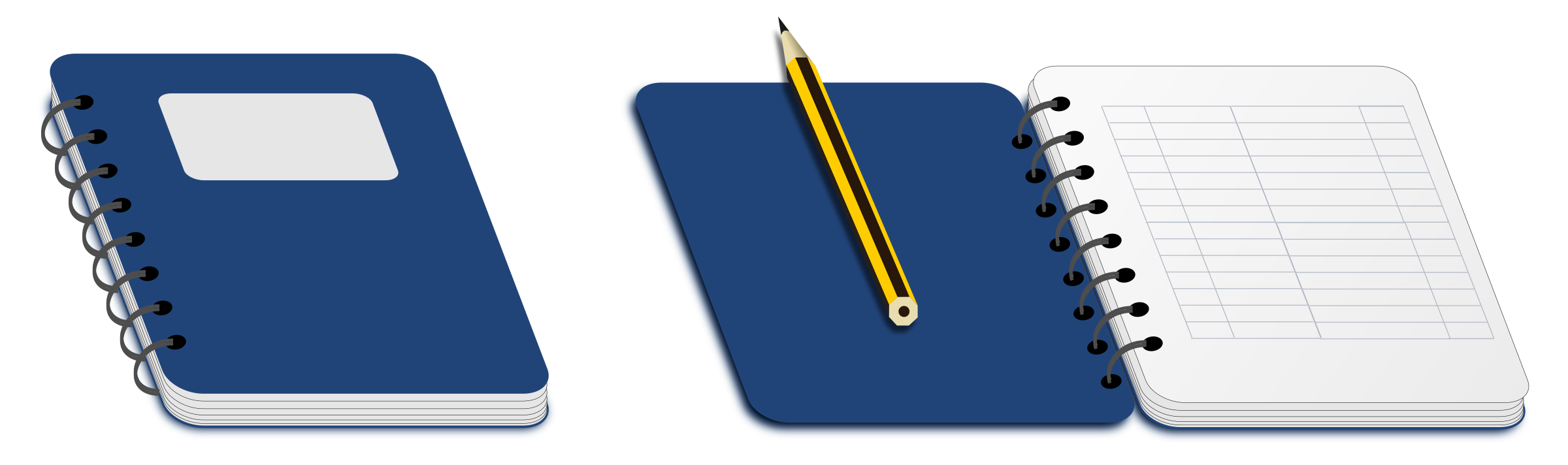Notebook clipart pencil. Spiral with big image
