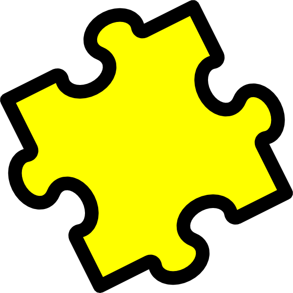 Puzzle yellow and in. Clipart pencil four