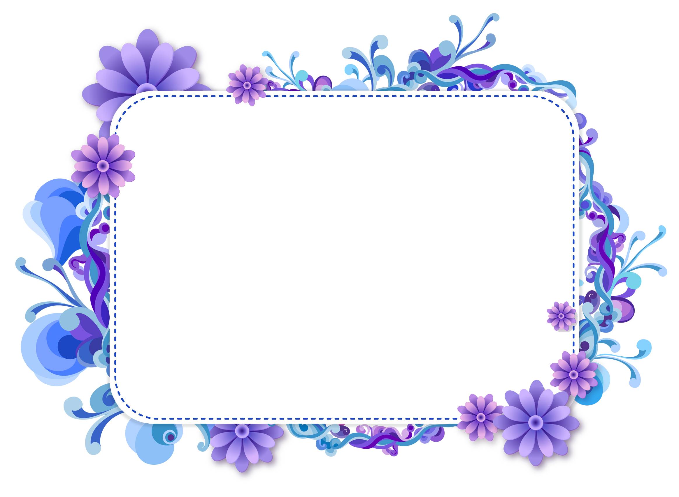 Blue flower clipart top. Png photo frame