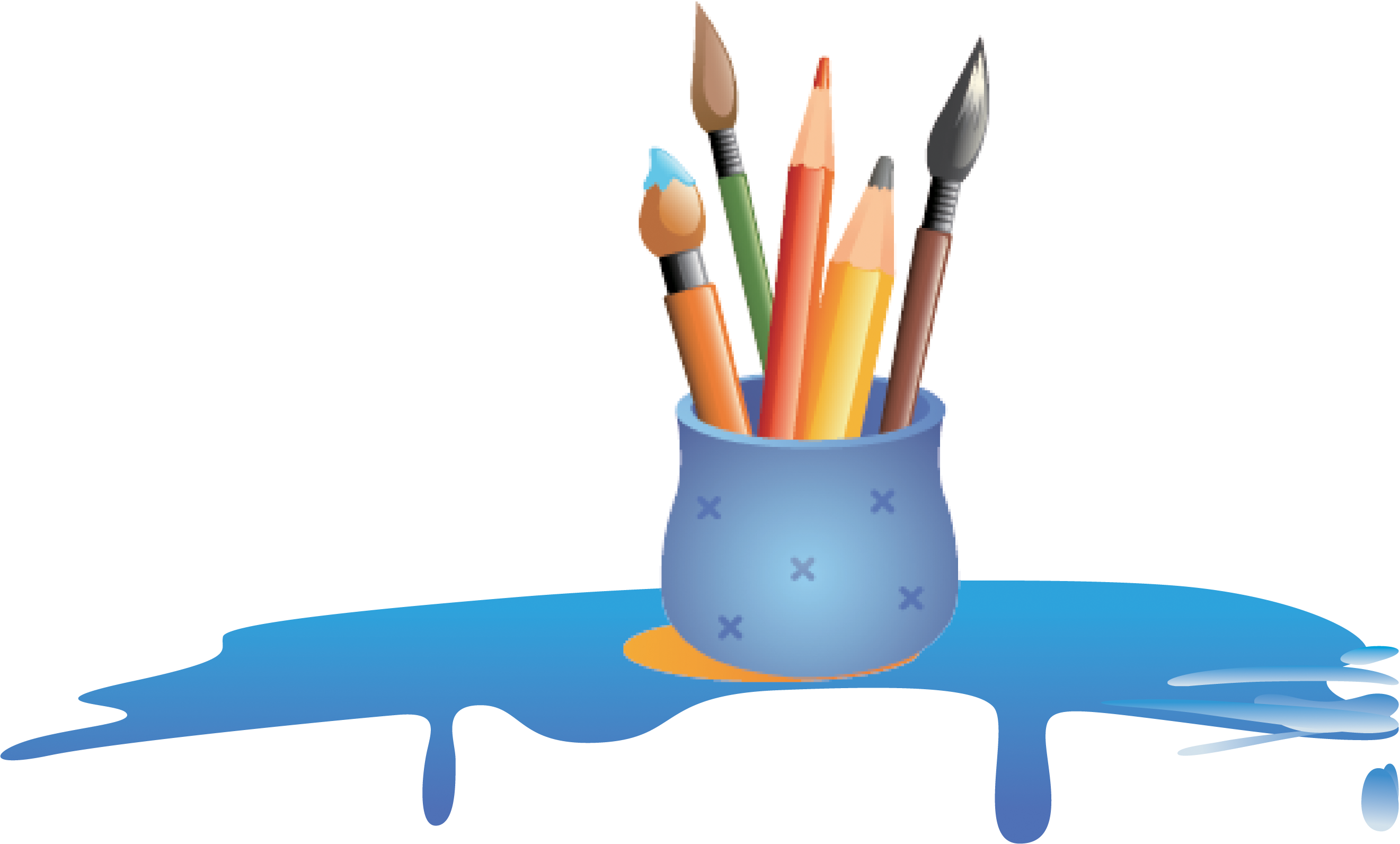 Paintbrush clipart colored pencil. Painting cartoon pen transprent