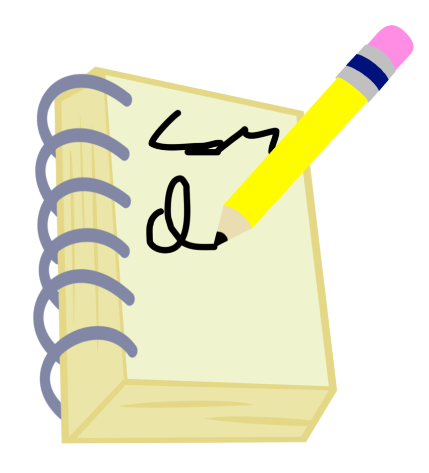 Notebook clipart pencil. Request and cutie mark