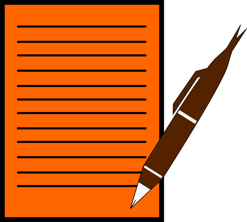 Paper write pen medium. English clipart tutoring