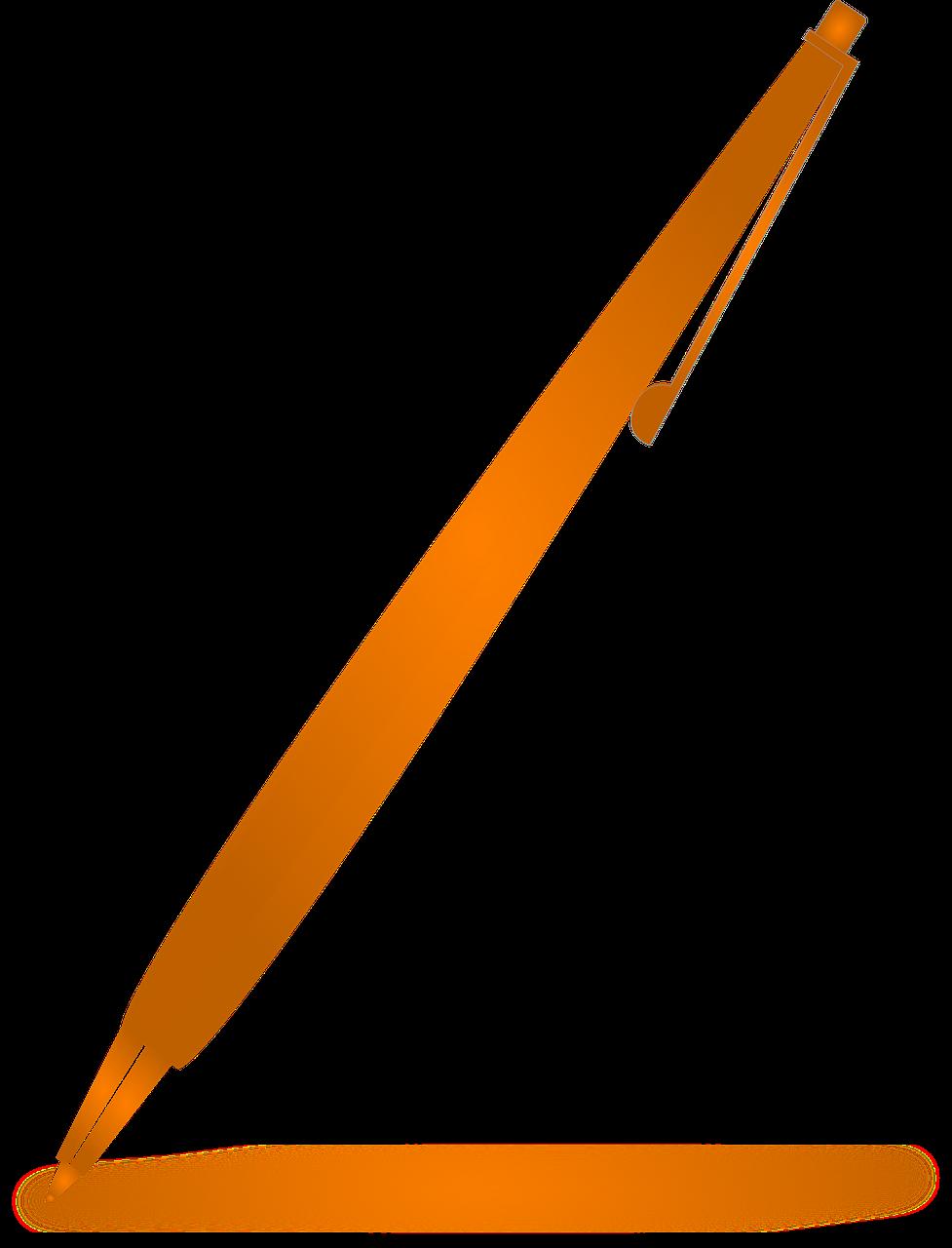 Clipart pencil pen. Orange write note png