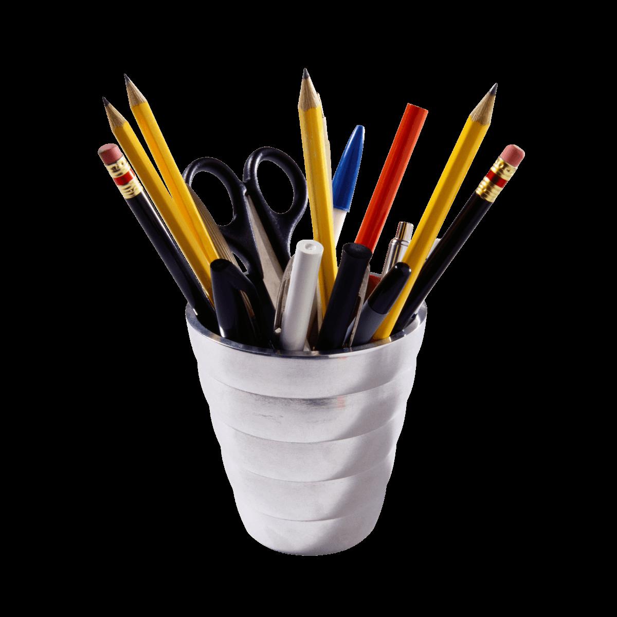 Clipart pencil stationery. Office supplies pot transparent