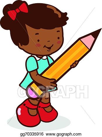 Clipart pencil student. Vector art girl holding