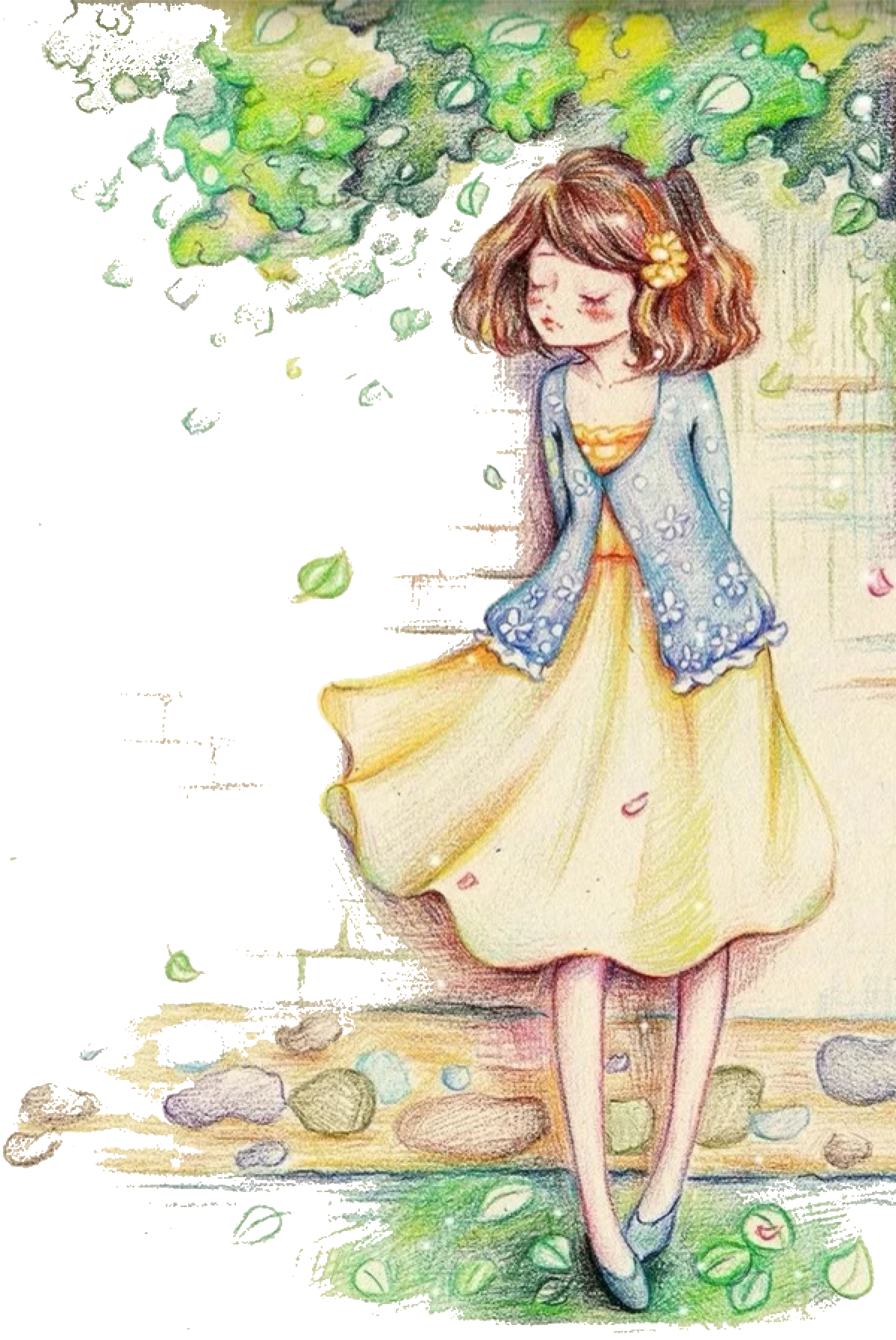 Painting colored illustration little. Pencil clipart watercolor