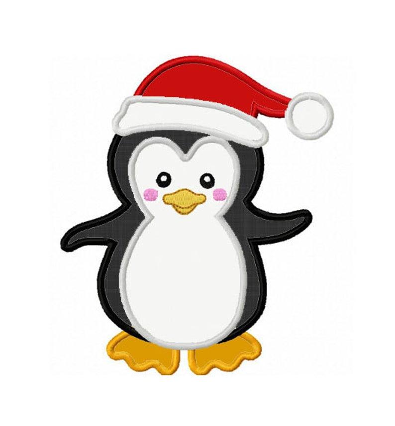 Clipart penguin applique. Christmas machine embroidery design