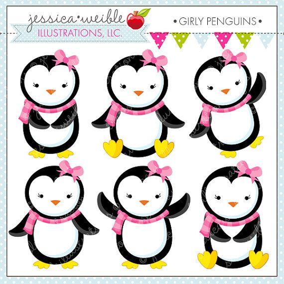 Girly penguins cute digital. Clipart penquin baby girl