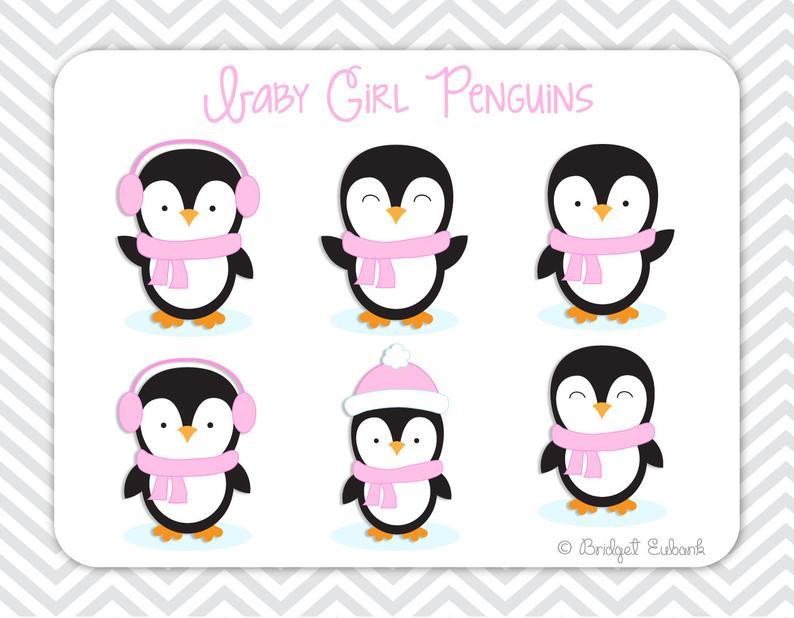 Penguin penguins pink commercial. Clipart penquin baby girl