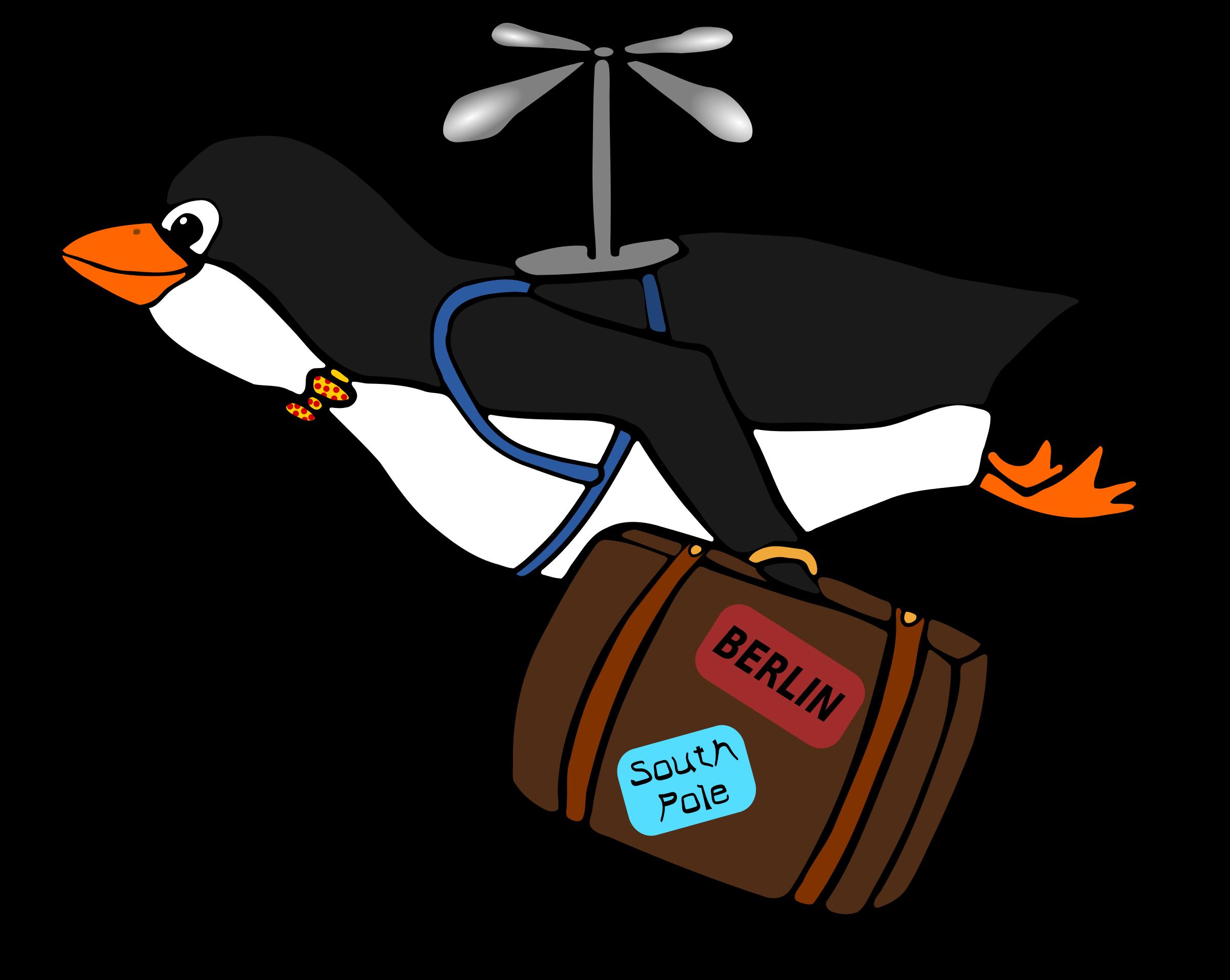 penguin clipart flying