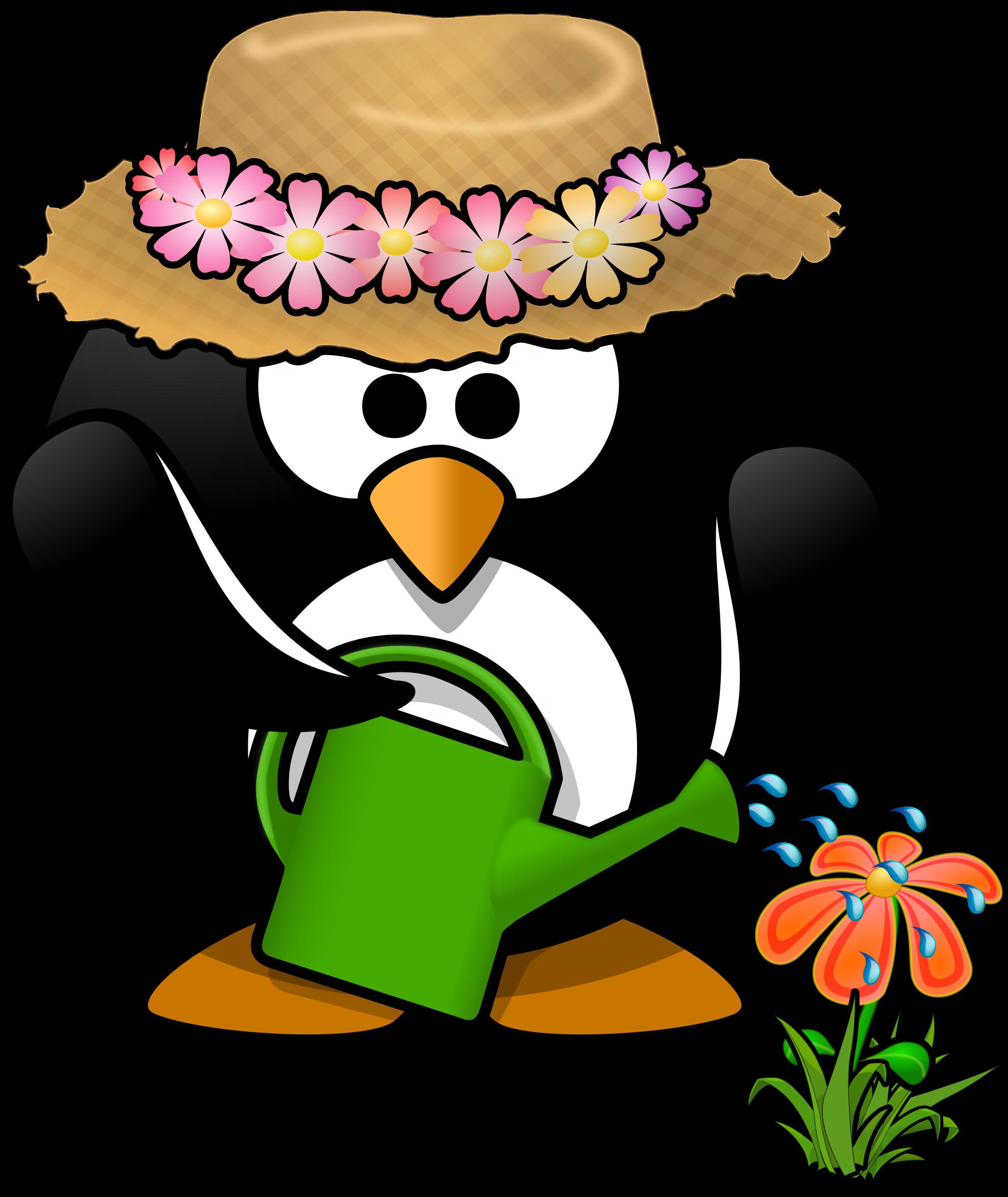Clipart person spring. Garden penguin big image
