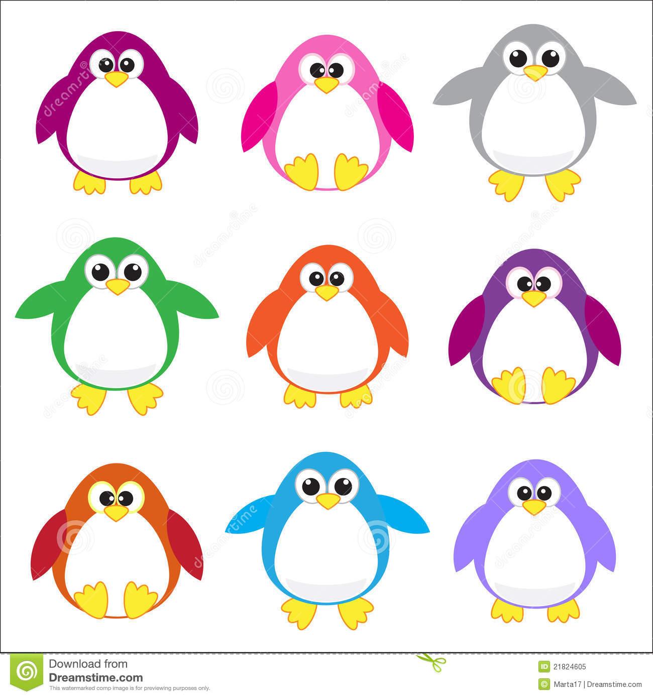 Clipart penquin colored. Color penguins clip art