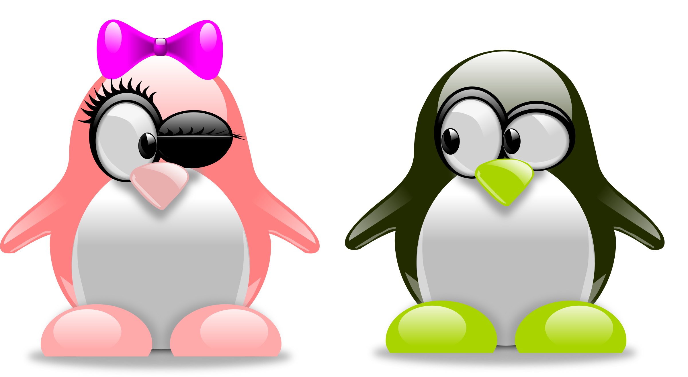 Tux in love icons. Clipart penguin computer