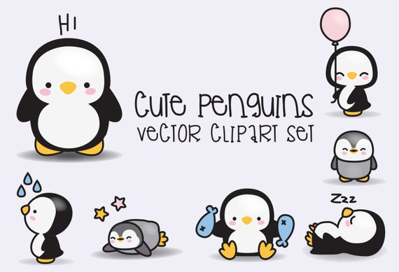 Premium vector kawaii penguins. Clipart penguin cute penguin