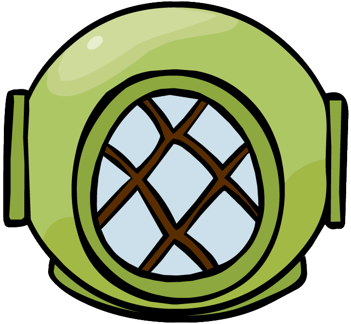 Divers helmet club penguin. Diver clipart underwater diving