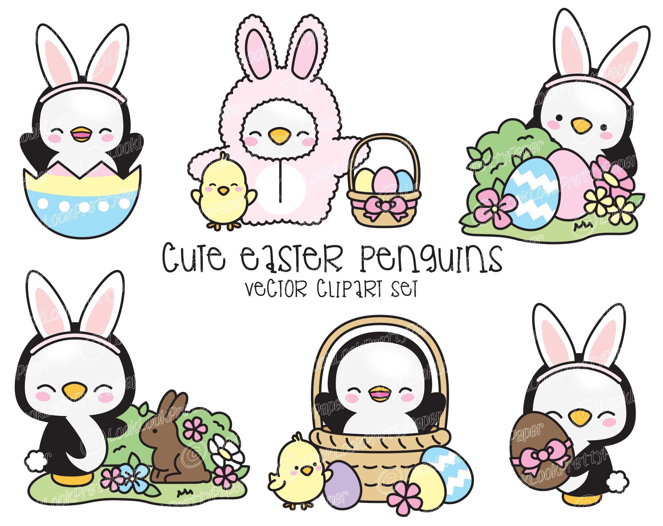 Premium vector kawaii penguins. Clipart penquin easter