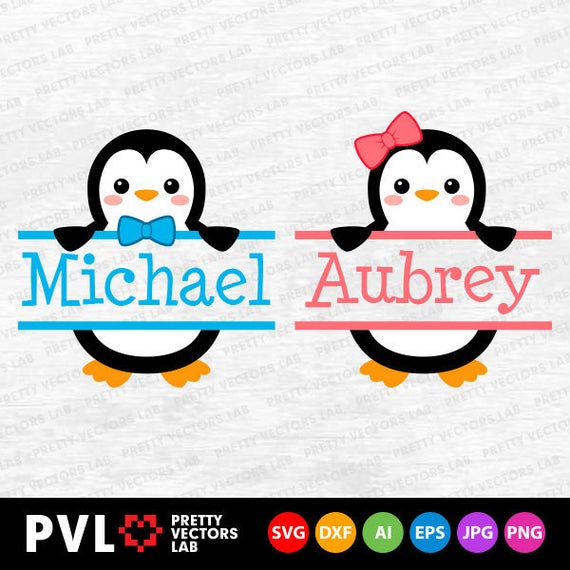 Svg penguins monogram split. Clipart penguin frame
