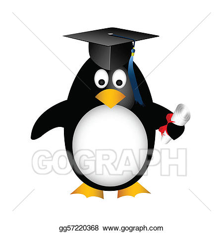 clipart penguin graduation