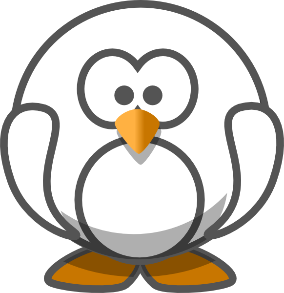 Clipart penguin grey. And white clip art