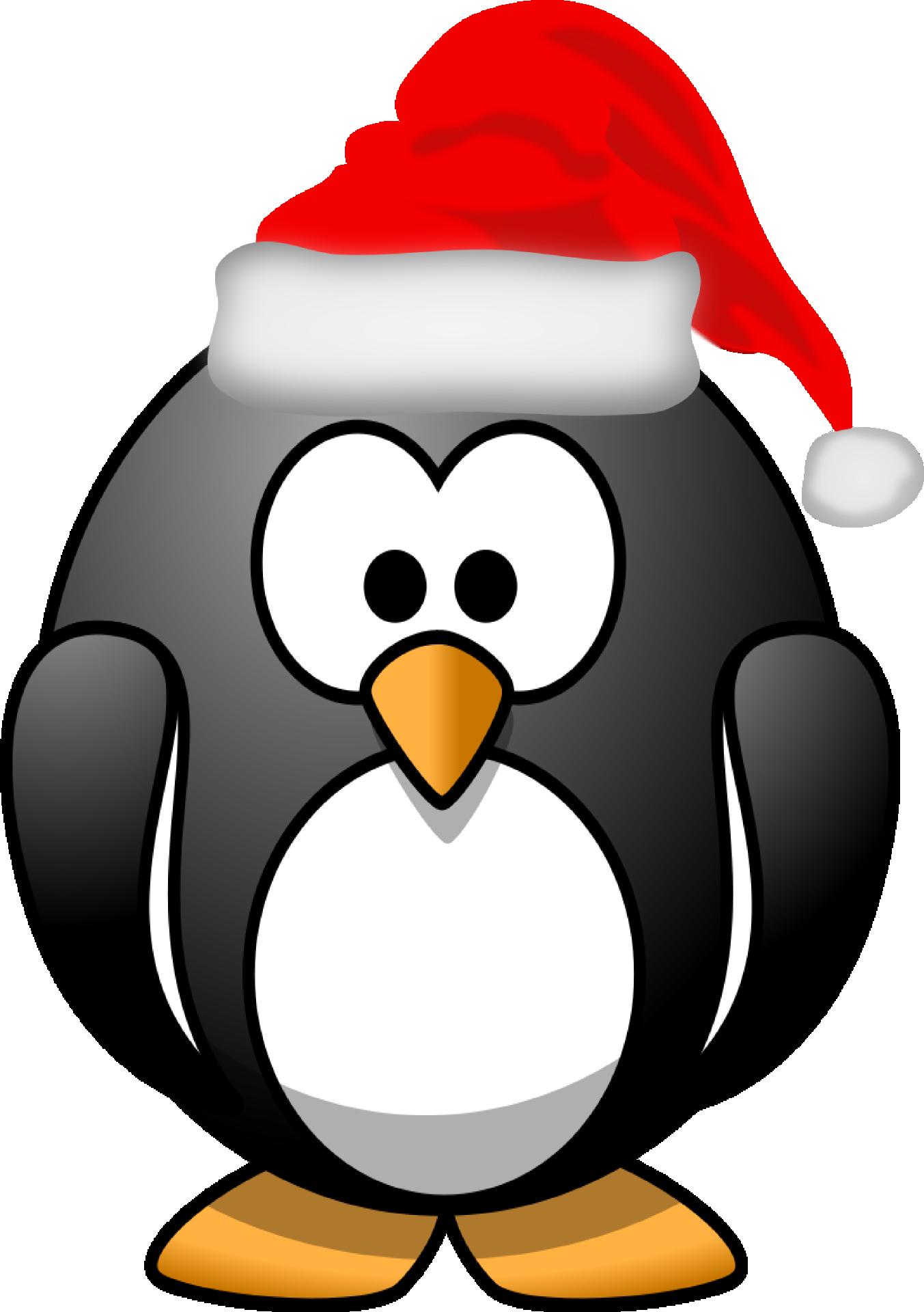 Clipart penguin hat. Xmas santa claus tux