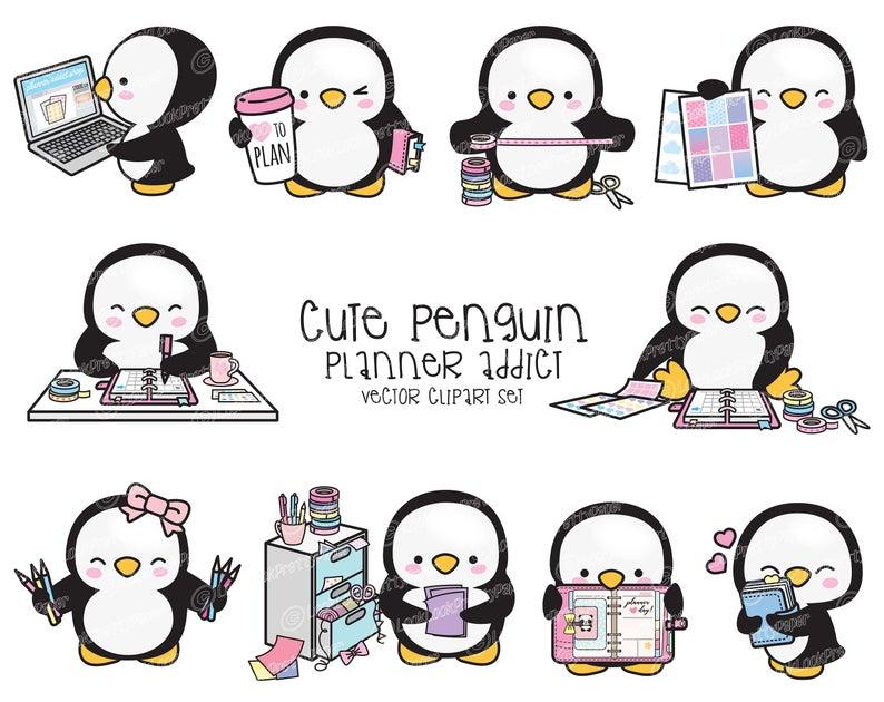 Clipart penguin kawaii. Premium vector cute planner