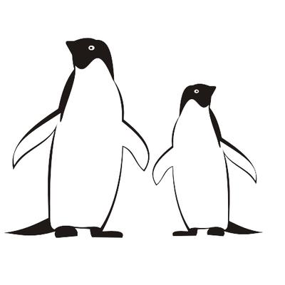 Free traced black white. Clipart penguin line