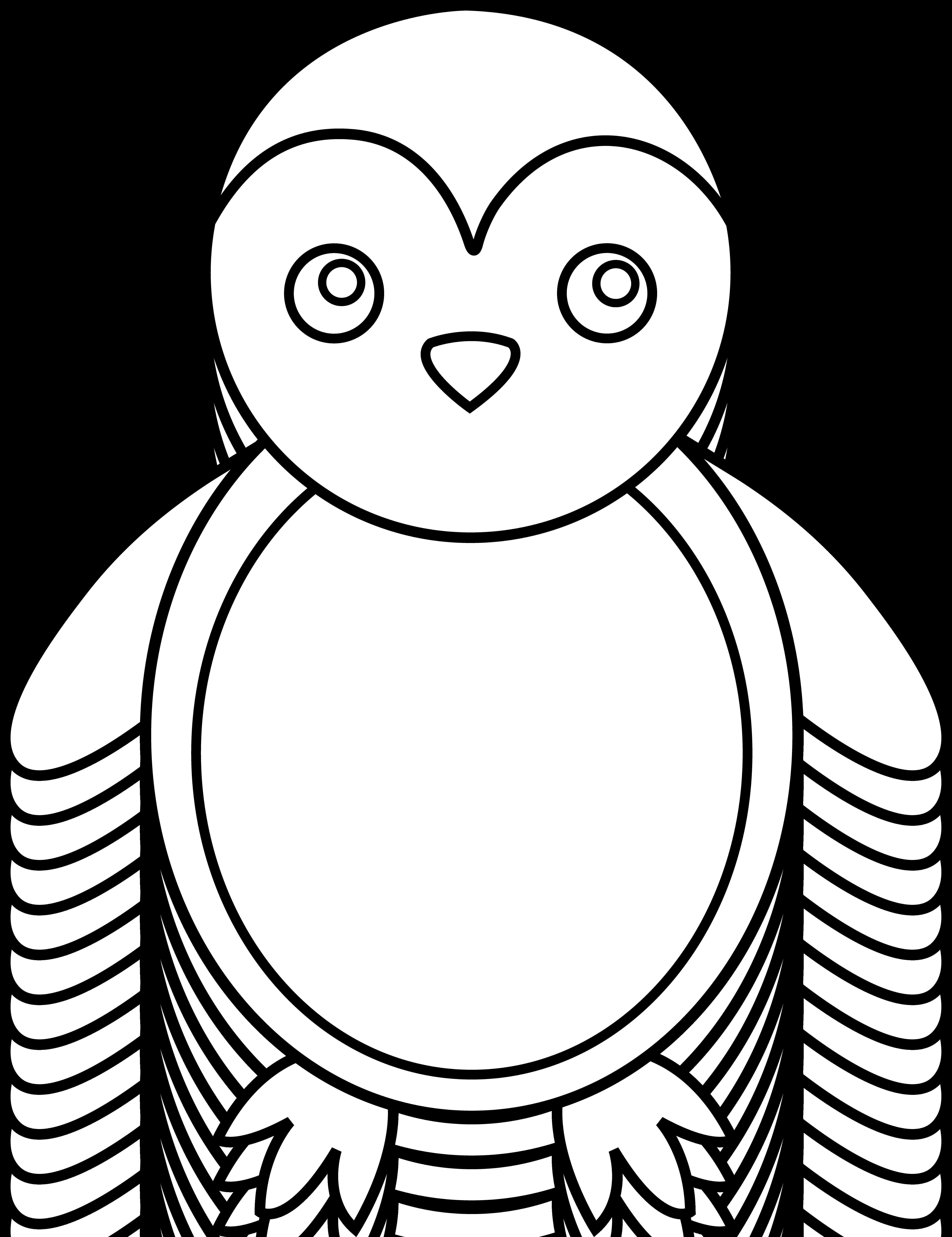 Art free clip colorable. Clipart penguin line