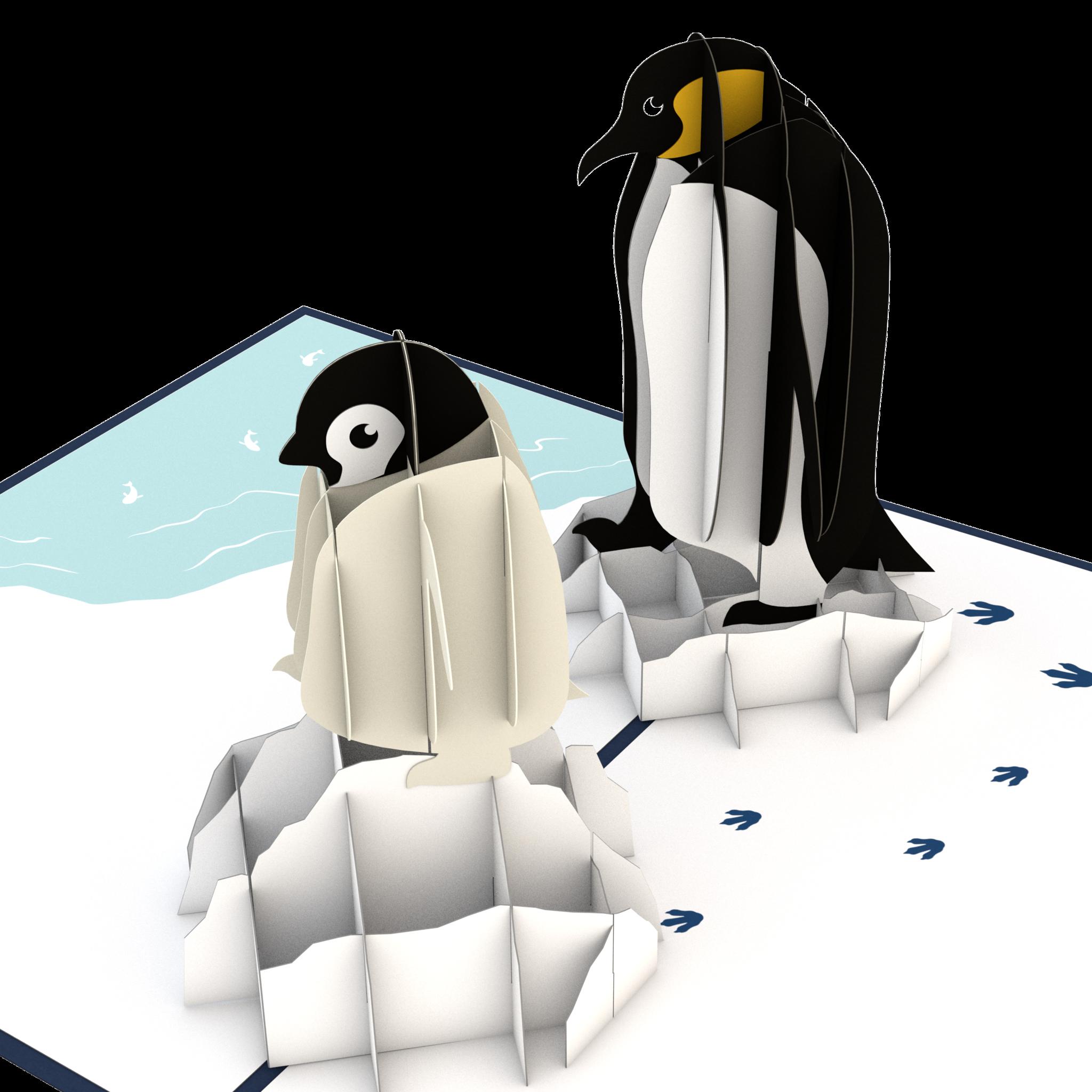 Pop up card lovepop. Clipart penguin penguin family