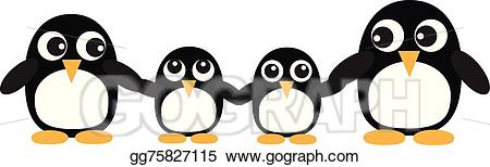 Vector art a drawing. Clipart penguin penguin family