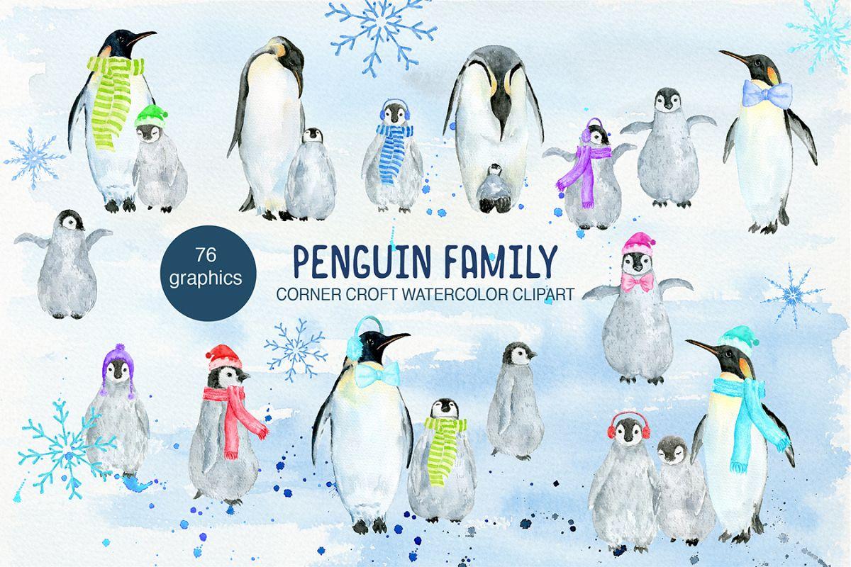 Clipart penguin penguin family. Watercolor illustration