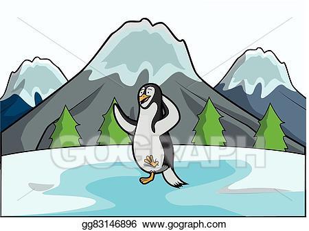 Eps illustration at ice. Clipart penguin scene
