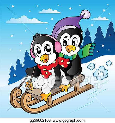 Clipart penguin scene. Vector winter with penguins