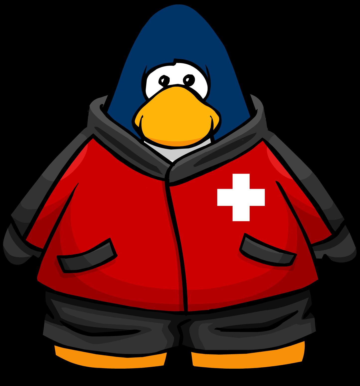 Clipart penguin skiing. Image ski patrol jacket