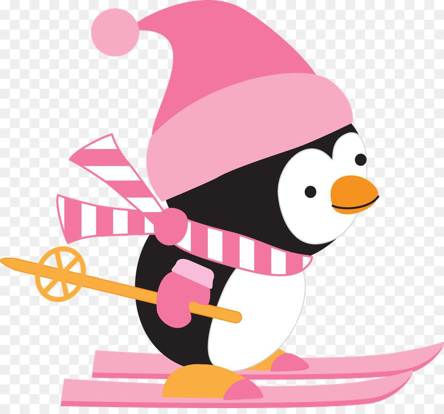 Clipart penguin skiing. Bird line art illustration
