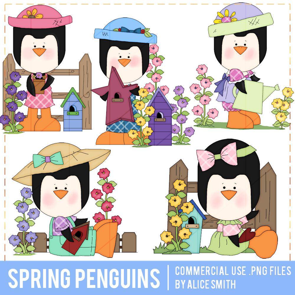 Clipart penquin spring. Penguins clip art by