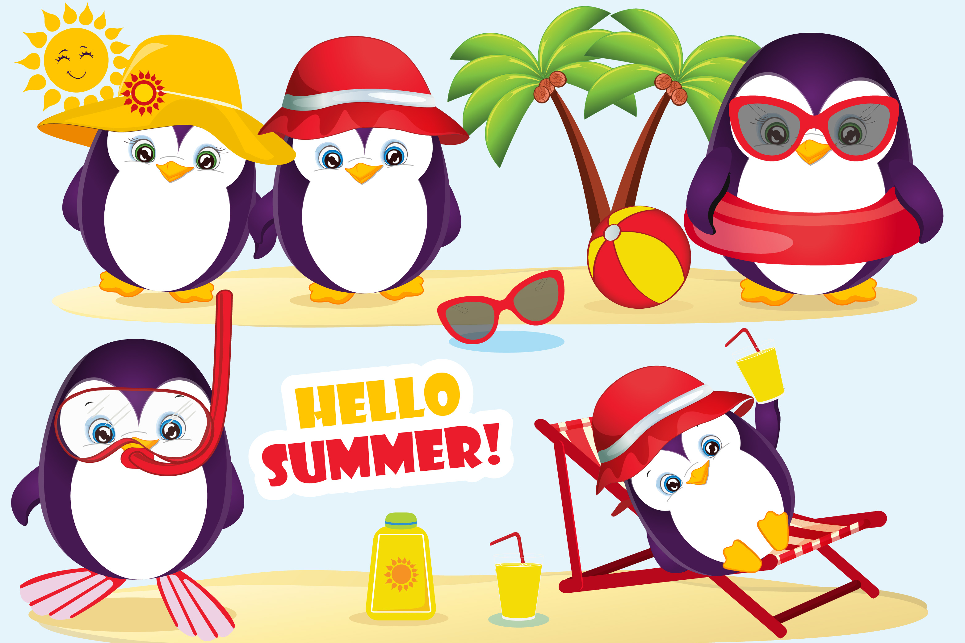 Penguin graphics . Clipart penquin summer