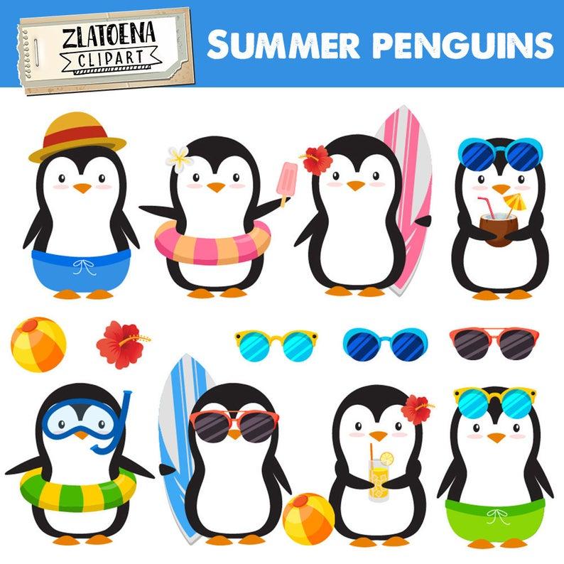 Clipart penguin summer. Penguins clip art pool