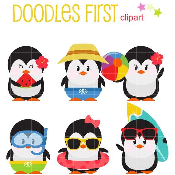 Penguins clip art for. Clipart penguin summer