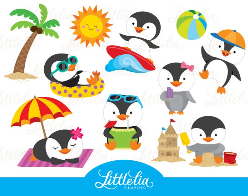 Clipart penquin summer. Penguin beach