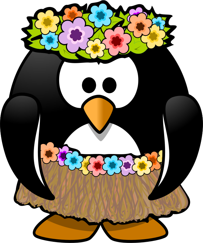 Pencil and in color. Clipart penguin summer