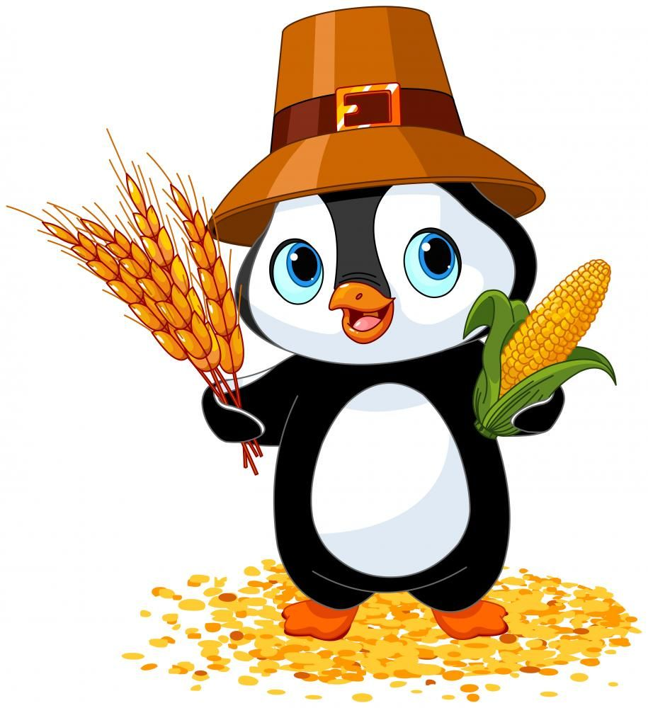 Penguin farmer wall decals. Clipart penquin thanksgiving