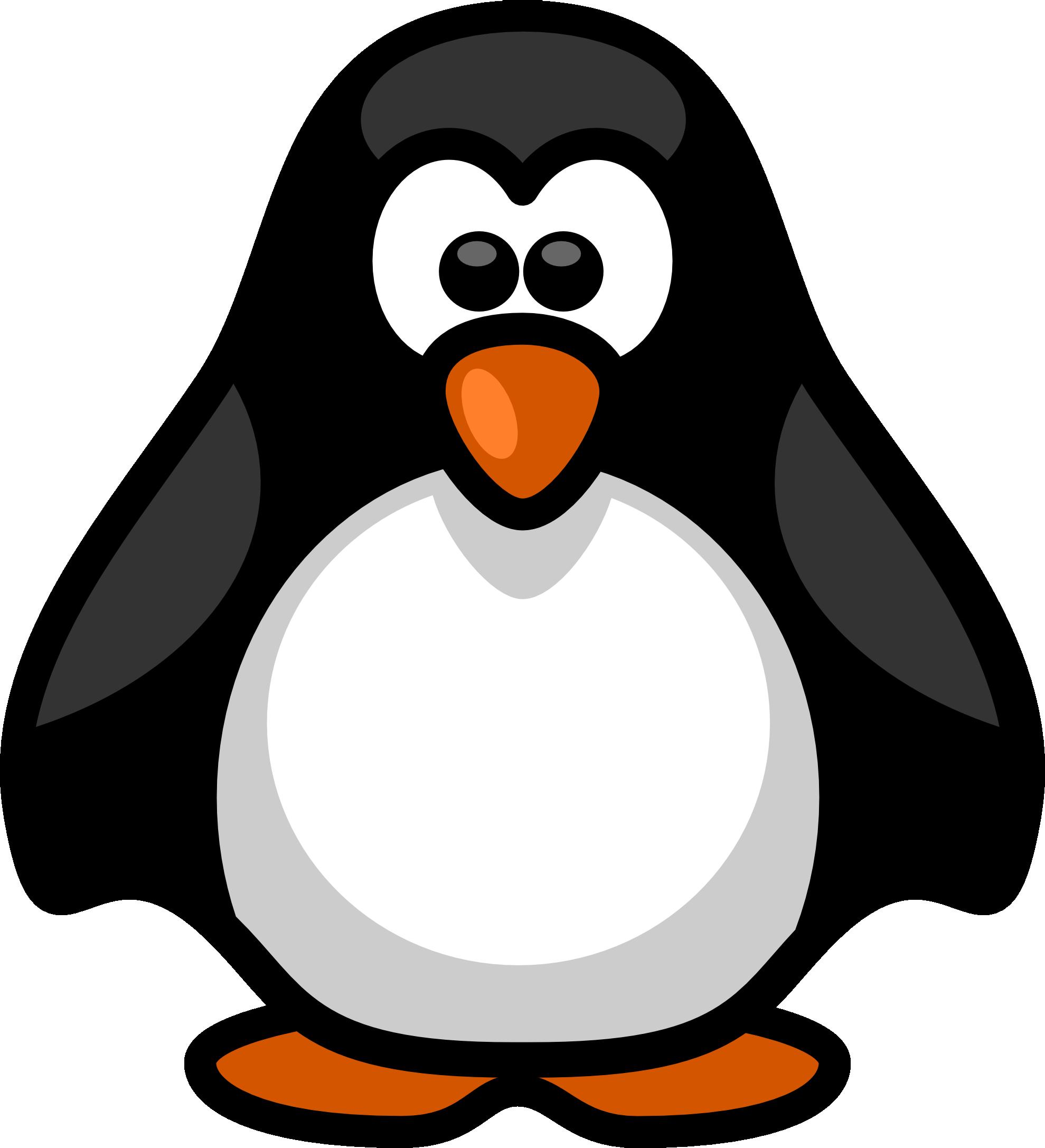 clipart penquin black and white