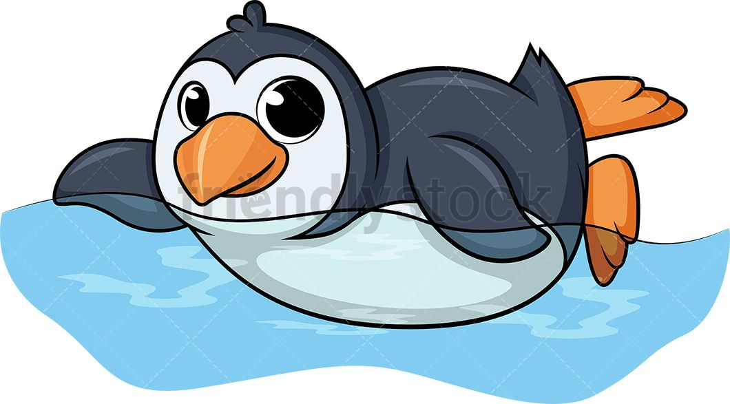 Clipart penguin water. Swimming clip arts in