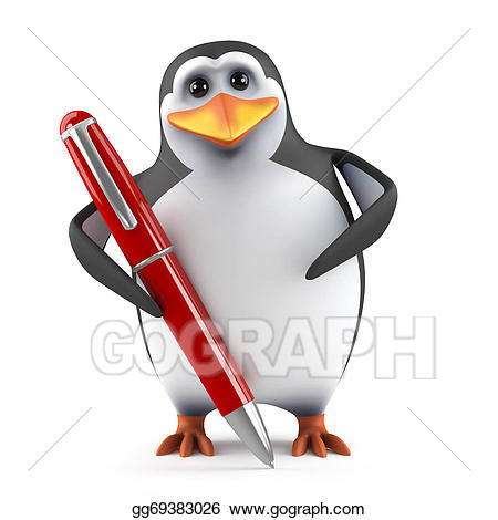 Clipart penquin writing. Stock illustration d penguin
