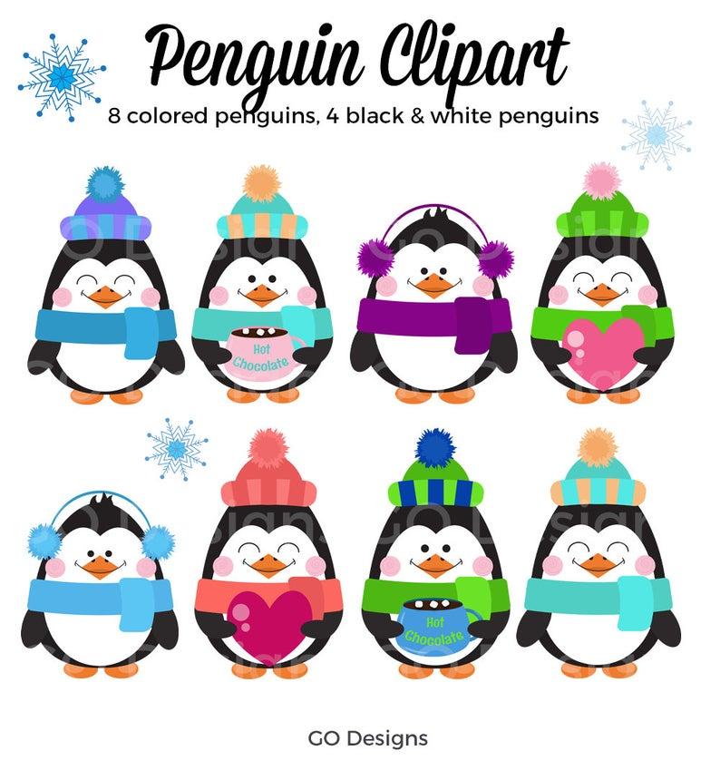 Penguin clip art cute. Clipart penquin colored