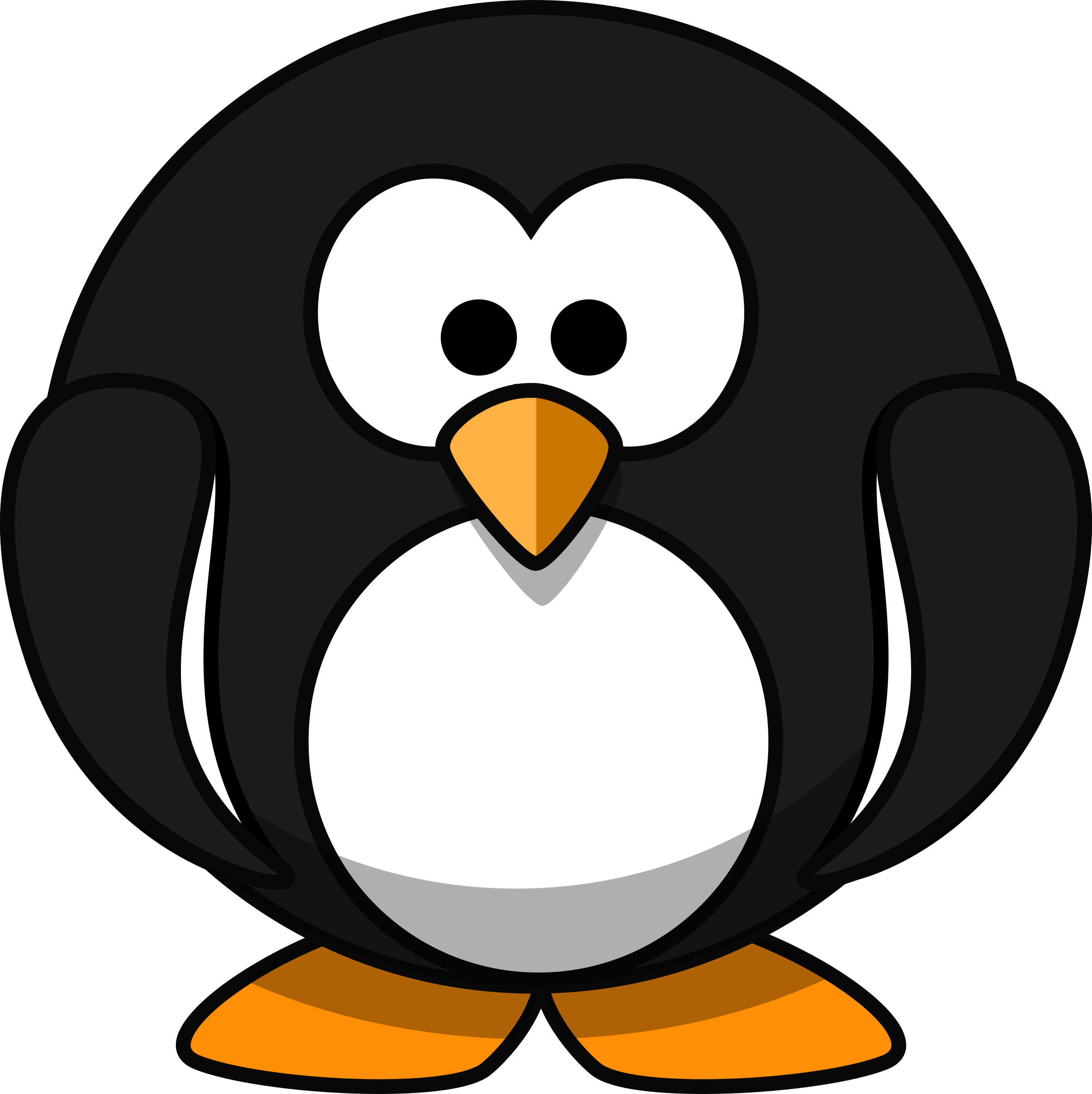Cute round penguin flat. Color clipart cartoon