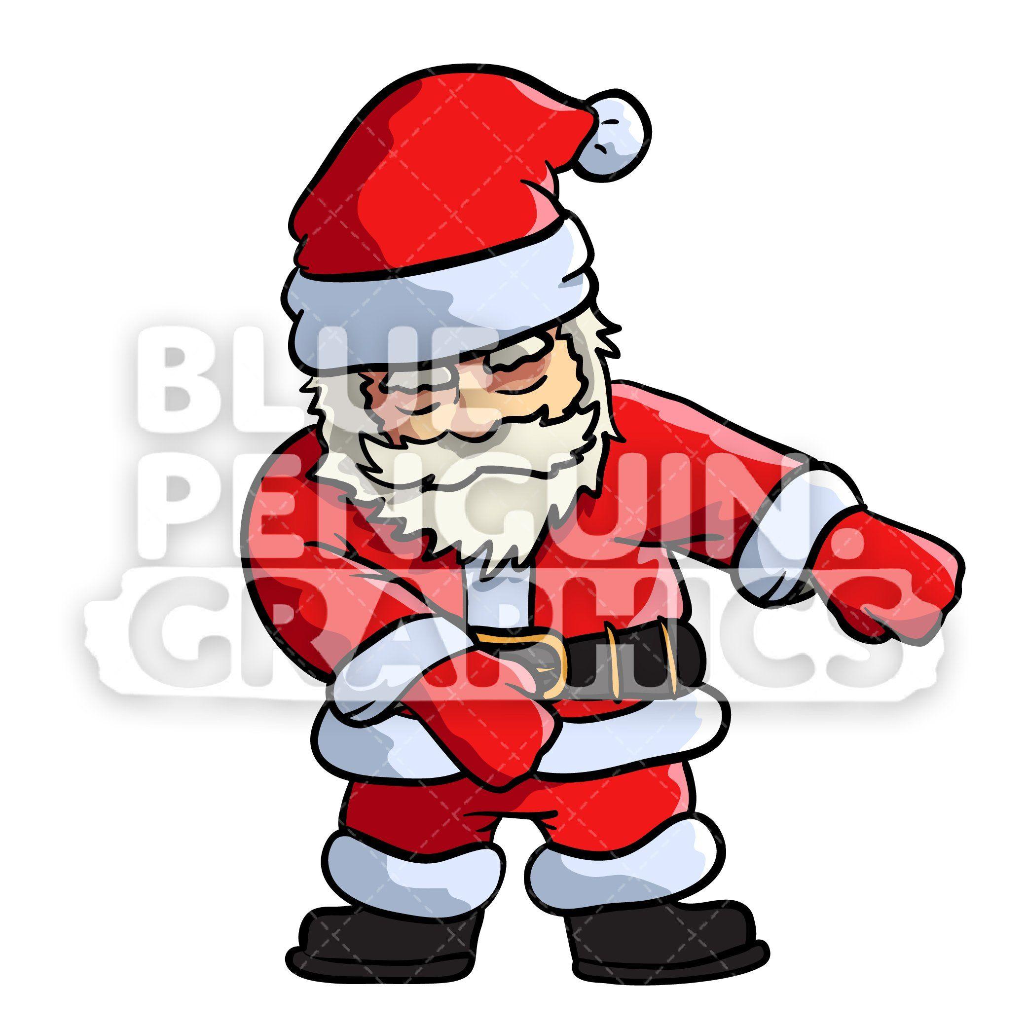 Floss dance vector cartoon. Clipart penquin dancing santa