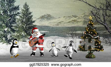 clipart penquin dancing santa