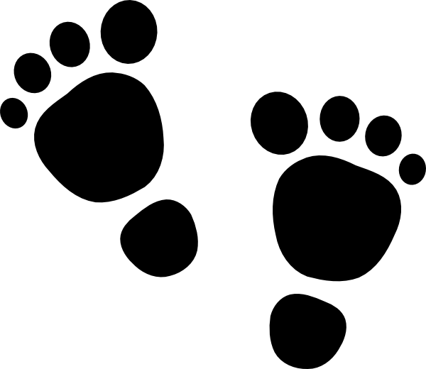 Baby feet black clip. Infant clipart footprint